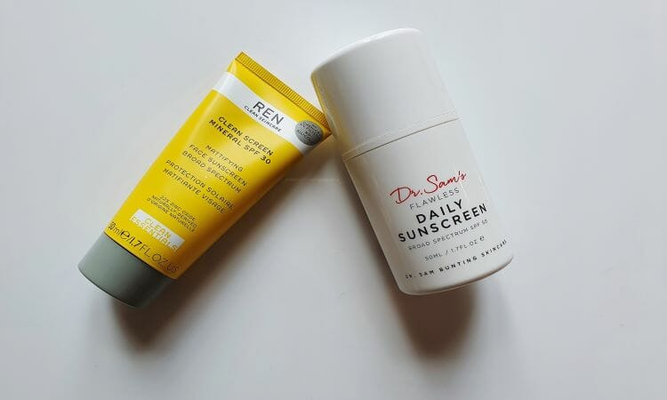 REN Clean Screen Mineral SPF and Dr Sam's Flawless Daily Sunscreen